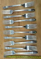 LOT OF 10 NICE 1847 ROGERS BROS VINTAGE1937 FIRST LOVE SILVERPLATE DINNER FORKS