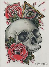 Temporary Tattoo Fake Tattoo Skull&Roses 18,5x11cm Medium wasserfest(A011)