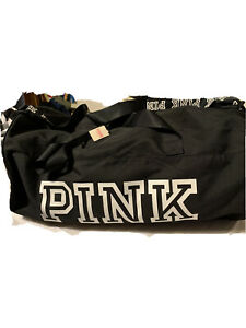 VS PINK Large Duffle Gym Bag Black New