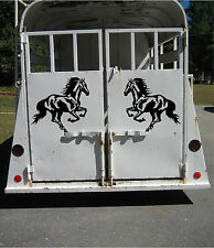 Set of 2 Running Horse Stickers for Horse Trailer or Truck Vinyl Decal 19.5x18