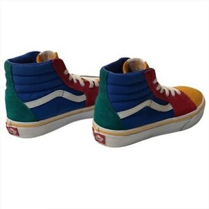 Vans sneakers Size 2 Boy Girl high top Multi Color Yellow Red Blue
