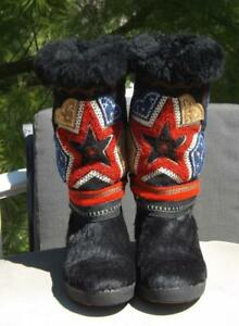 Tecnica Pony Hair Boots Embroidered Size Size 5 EU 37 UK 4