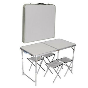 NEW OUTDOOR DINING CAMPING GARDEN PICNIC FOLDING TABLE WITH 4 CHAIR PORTABLE SET