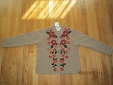 Petites Floral 100% Wool Cardigan Sweaters for Women