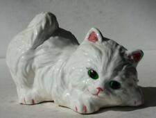 Cat-Kitten Figurine White Persian Playful Pose Ceramic-Porcelain Hand Painted