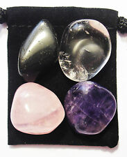 FIBROMYALGIA RELIEF Tumbled Crystal Healing Set = 4 Stones + Pouch + Card