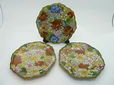 """3 Vintage CLOISONNE 5"""" Plates Brass Green with Blue, Yellow, White & Pink"""
