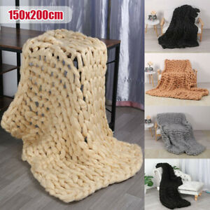 150*200 Multicolor Knitted Blankets Hand Knit Sofa Blanket thick warm Chunky