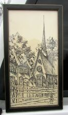 1976  Place Royale - Notre Dame Church Etching - Quebec