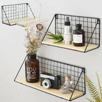 UK Iron Metal&Wood Wall Floting Shelves Shelf Industrial Modern Storage Hallway