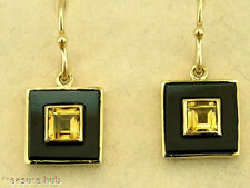 CHIC & RETRO 9ct Solid Gold CITRINE & ONYX Earrings