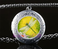 Dragonfly Photo Cabochon Glass Tibet Silver Chain Locket Pendant Necklace