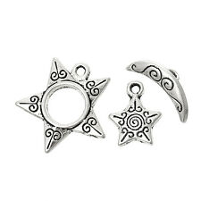 5 x Sets Tibetan Style 3pc Set Star & Moon Toggle Clasps & Charms Antique Silver