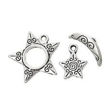 5 x imposta lo stile tibetano 3pz Set Star & Moon Toggle Fermagli e Charms Argento Antico