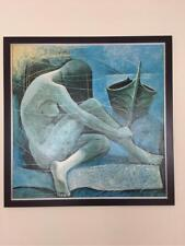 Litografia cuadro pintura arte años 70 decoracion vintage usado 83 x 83 cms