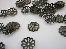 "100 Bead Caps Bronze Flower Caps 8mm (1/4"") Bead Ends Jewellery Making Findings"