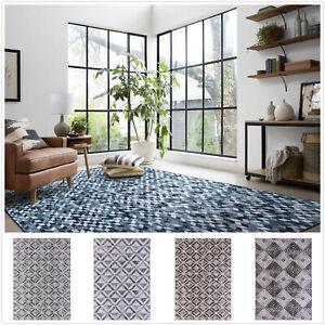 Large Floor Rug Beige Grey Brown Faux Cowhides Patchwork Diamond Carpet 4 Sizes