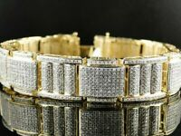 Men's 13CT Round Cut Diamond 14K Yellow Gold Over Pave Bracelet For Special Gift