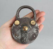 19thC Antique Iron Brass Padlock Vinyard Wine Celler Lock & Key, NR