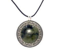 "Irish Connemara Marble and Mullingar Pewter Necklace w/ 24"" Adj. Leather Cord"