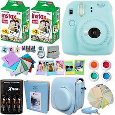 Fujifilm Instax Mini 9 Instant Polaroid Camera + Charger Set Bundle Ice Blue New