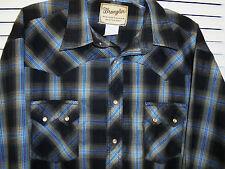 Wrangler Mens Black & Turquoise Shadow Plaid Western Snap Shirt 2XL