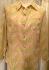 j.h. Collectibles Pink & Green Paisley Lightweight 3/4 Sleeve Blouse Womens L