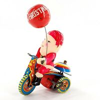 Vintage Wind Up Tin Toy Celluloid Santa On Tricycle Suzuki Tested/Works