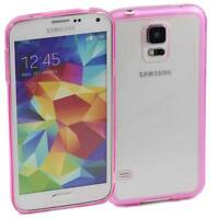 PINK SAMSUNG GALAXY S5 CASE HARD BACK CLEAR TPU SILICONE BUMPER COVER M70