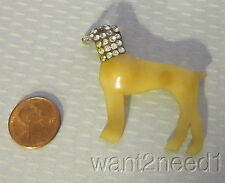 1920s French art deco CELLULOID & RHINESTONE HOUND DOG PIN translucent