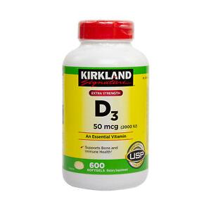 Kirkland Signature Vitamin D3 2000IU 600 Softgels