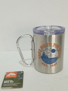 17 Oz Insulated Stainless Steel Mug With Lid  - With Carabiner Handle