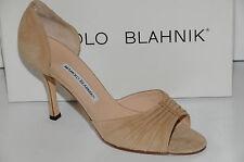 New MANOLO BLAHNIK SEDARABY Camel Flesh NUDE Beige Brown Suede Shoes 40
