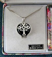 "Mother's Heart Sterling Silver Black Onyx Cross Locket Pendant 24"" Necklace"