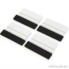 """4) 4"""" Plastic Felt Edge Squeegee Car Vinyl Wrap Application Tool Scraper Decal"""