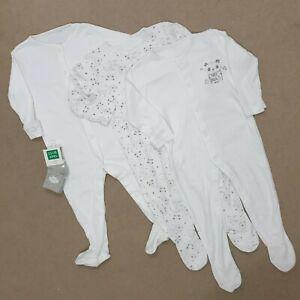 Baby Bundle 9-12 Months Unisex Babygrows Sleepsuits Socks 4 Pc New Gift White