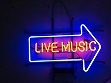 "17""x14"" LIVE MUSIC ARROW Beer Bar Pub Tavern Club Decor Glass Neon Light Sign"