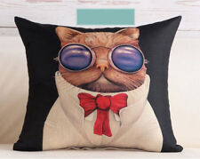 Cool Steampunk Cat Glasses Linen Square Pillow Cushion Cover.