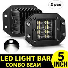 "2x 5"" INCH Flush Mount 260W LED Work Light Bar Rear Bumper Reverse 4-Row Driving"