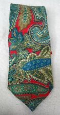 Barneys New York Bright Colored Paisley Red Teal Blues Brown Silk Neck Tie Italy