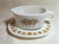 Corelle Pyrex BUTTERFLY GOLD Gravy Boat & UnderPlate Dish Tray Retired Ex Cond!