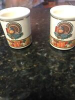 Lot Of 2 - Vtg Harvest Thanksgiving porcelain toothpick holder