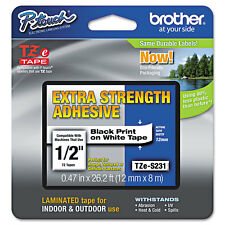 Brother P-Touch TZe Extra-Strength Adhesive Laminated Labeling Tape 1/2w Black