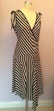 WHISTLES BLACK & WHITE STRIPE SLEEVELESS WRAP DRESS SIZE 14