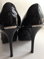 Auth. CHRISTIAN DIOR Black Patent Leather Signature Peep Toe Heel Shoes sz 40