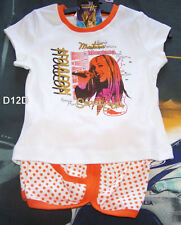 Disney Hannah Montana Girls White Orange Printed 2 Piece Pyjama Set Size 6 New