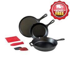 Lodge 6 pcs Cast Iron Skillet Set | Griddle + Skillet + Silicone Handle