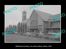 OLD LARGE HISTORIC PHOTO OLDENBURG GERMENY VIEW OF THE RAILWAY STATION c1920