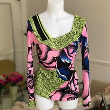 GIANNI VERSACE jersey knit set top & skirt graphic floral print from ss 1990