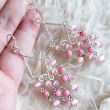 Clear Beads Dangle Hook Earrings New Womens Silver-Tone Chandelier Contrast Pink